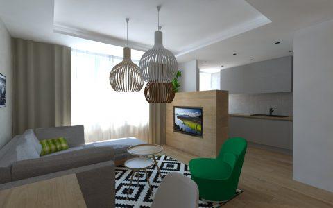 Škandinávsky interiér- koberec ikea, okrúhly stolík, šedá linka