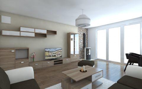 Obývačka, kachle, moderná, stolík moebelix, nábytok na mieru, kameň v obývačke