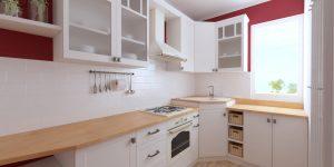 Biela kuchynská linka, klasická, bordová stena