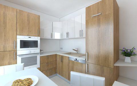 Kuchynská linka na mieru, biela s drevom