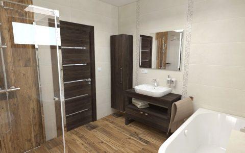 Vizualizácia kúpeľne Marazzi a dlažba Refin Larix, tmavé drevo, béžový obklad