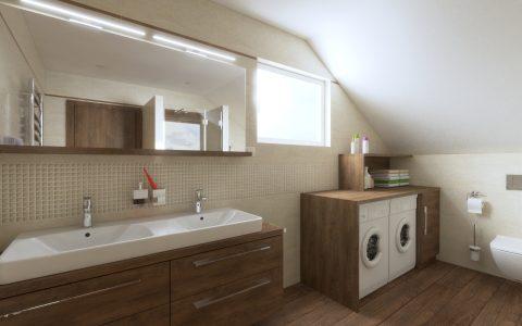 Kúpeľňa béžová Coraline, práčka v skrinke