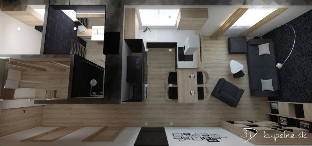 Kuchyňa, obývačka a kúpeľňa