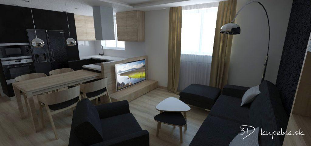 Obývačka s kuchynským kútom