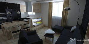 Obývačka s kuchynským kútom v mužskom interiéri