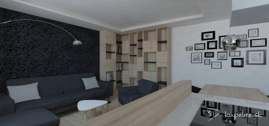 Knižnica ako súčasť obývačky