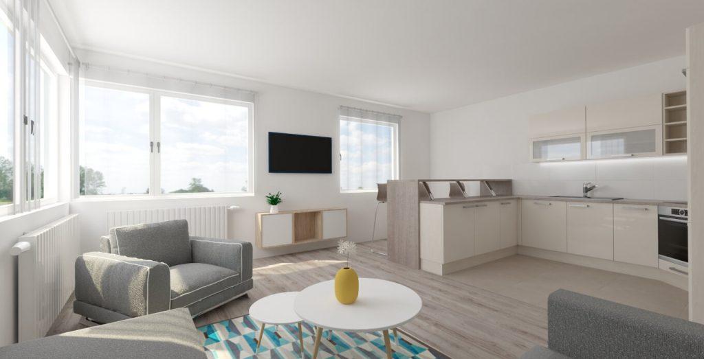 obývačka s kuchyňou