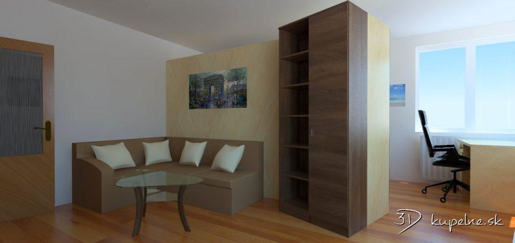 spojená obývačka so spálňou