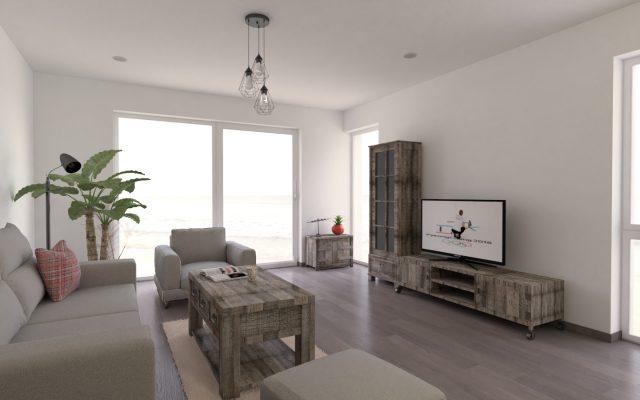 interiér domu v industriálnom štýle, televízor, konferenčný stôl, luster so žiarovkami