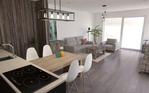 obývačka s kuchyňou s nábytkom v industriálnom štýle, staré drevo, šedá sedačka