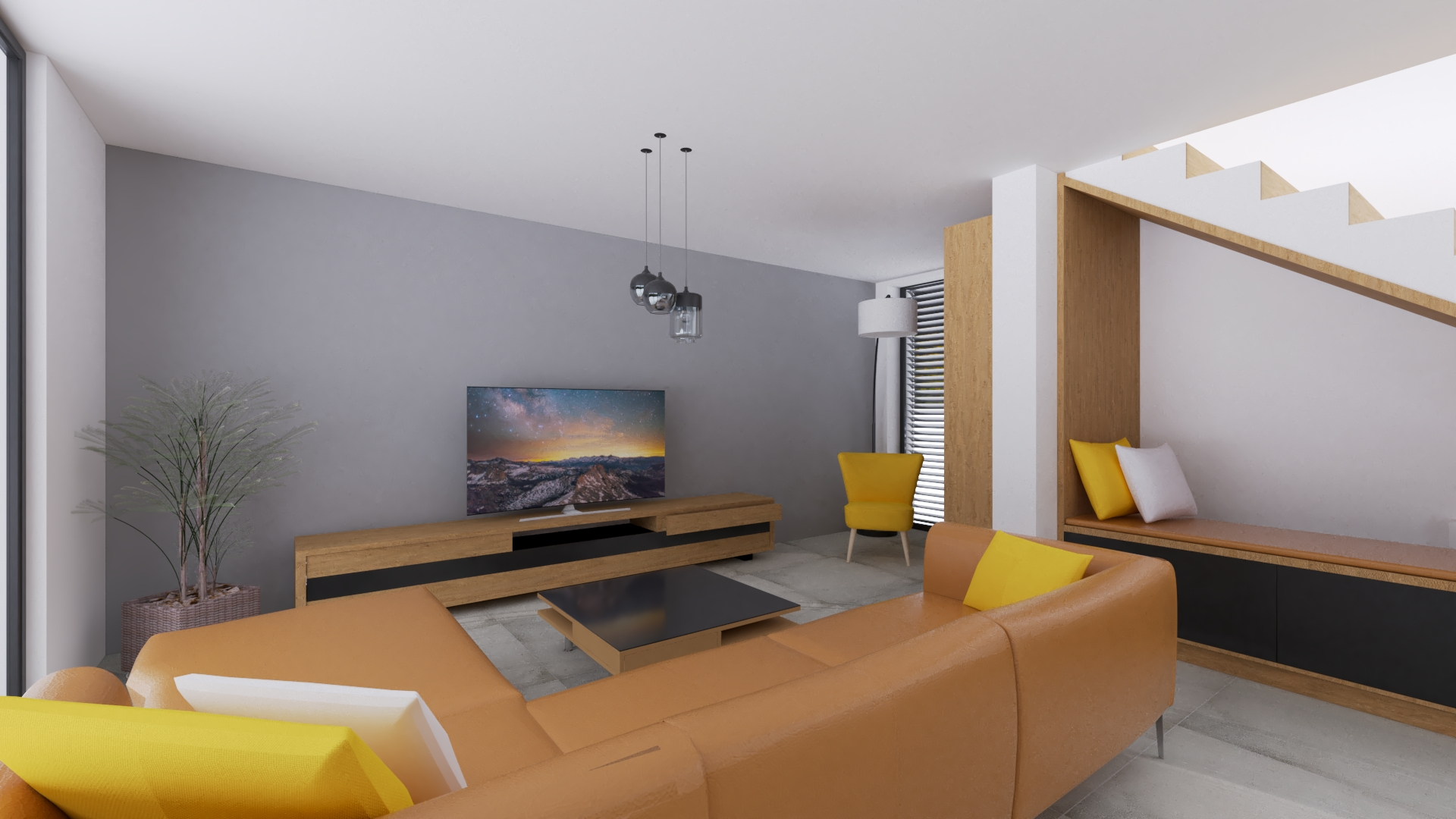 Obývačka s hnedou gaučovkou