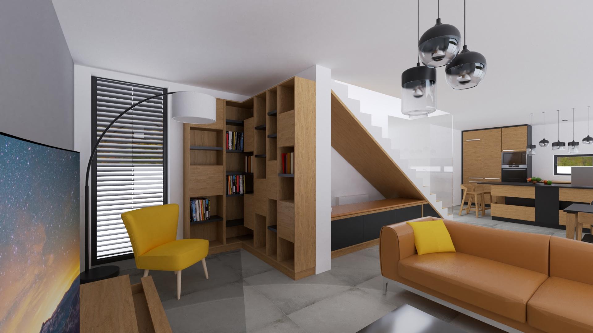 Knižnica na mieru, žlté kreslo ikea