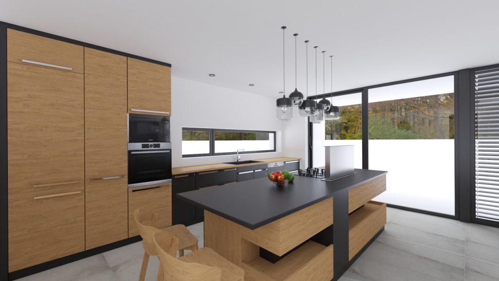 Moderný interiér Kuchynský ostrov s karamelovým odtieňom dreva. Šedá veľkoformátová dlažba