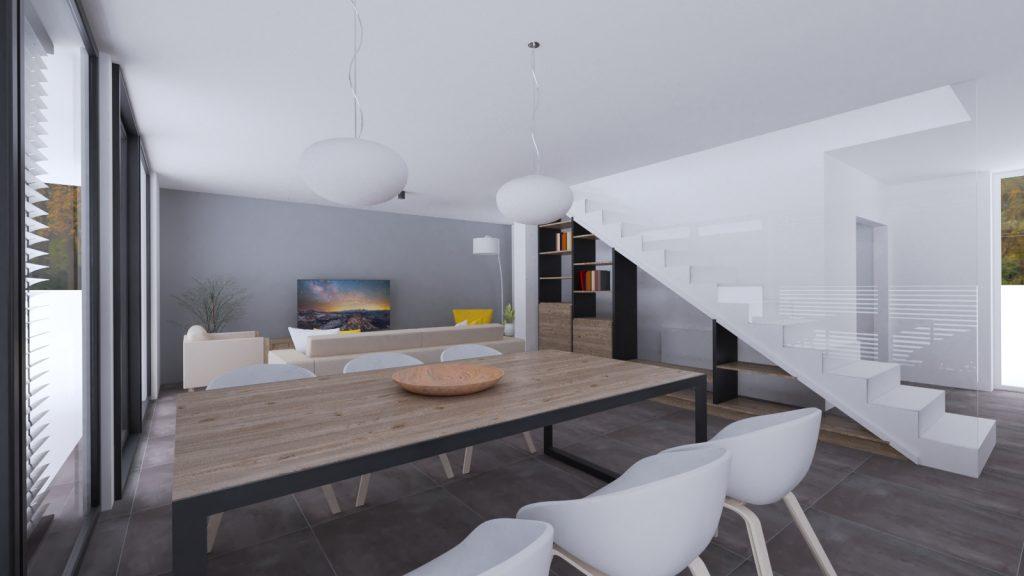 Moderný interiér. Obývačka so šedou dlažbou, knižničou pod schodami