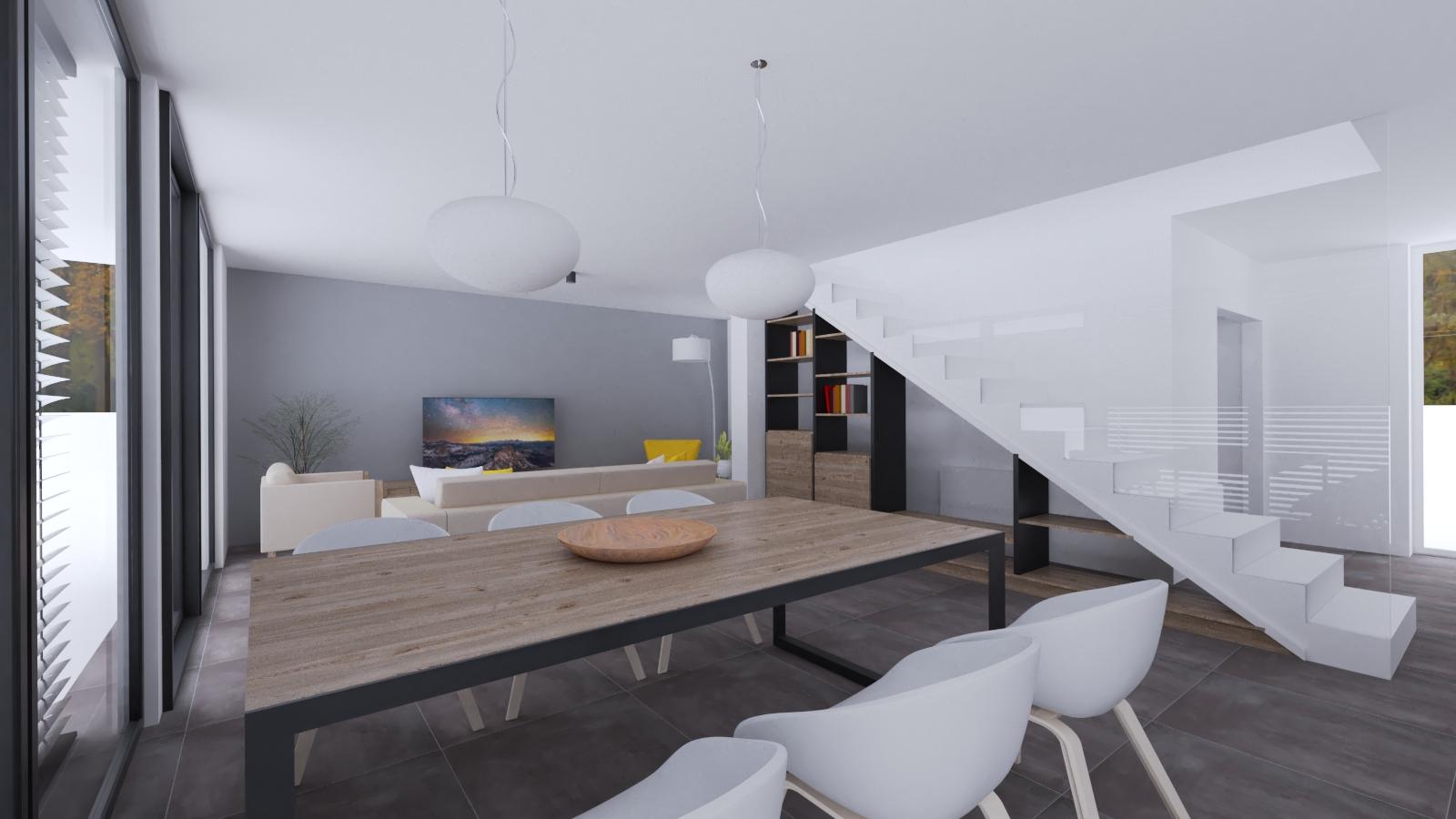 Obývačka so šedou dlažbou, knižničou pod schodami