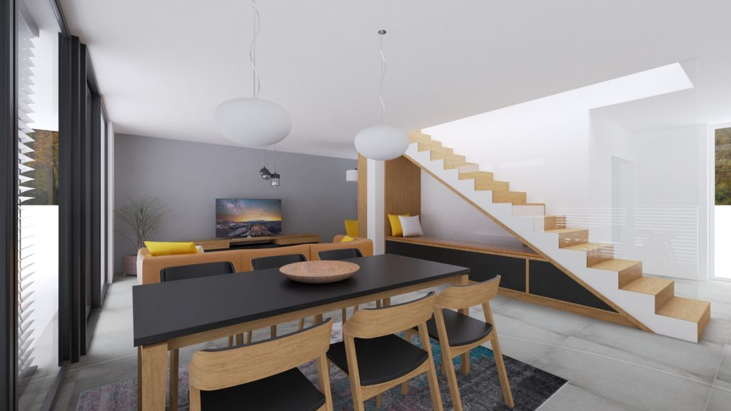 Moderný interiér. Obývačka s jedálenským stolom, sedenie pod schodami