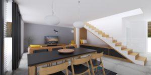 Obývačka s jedálenským stolom, sedenie pod schodami