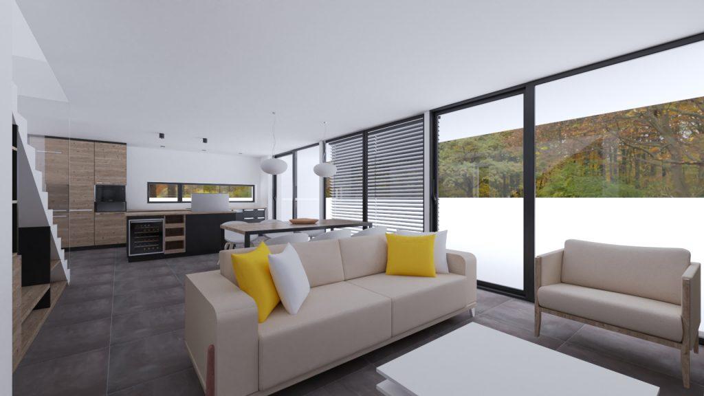 Žlté vankúše, svetlá sedačka gaučovka moderný interiér