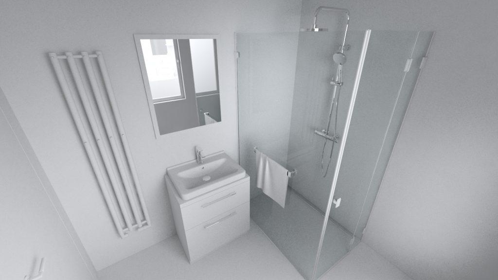 Kúpeľňa koncept sprchovací kút a umývadlo
