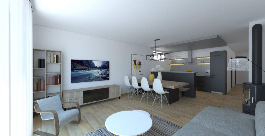 vizualizácia obývačky s škandinávskom štýle