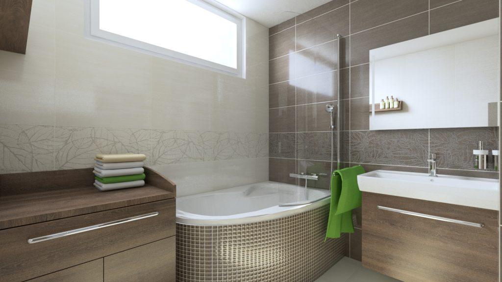 Inšpirácie kúpeľní, vaňa s mozaikou, prebaľovaci pult v kúpeľni, vaňová zástena Ravak rosa