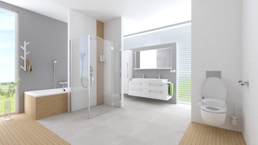 Kúpeľňa s bidetom, šedá dlažba, imitácia dreva, dvojumyvadlo, inšpirácie