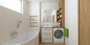 práčka pod doskou, zápustné umývadlo, béžová kúpeľňa vizualizácia