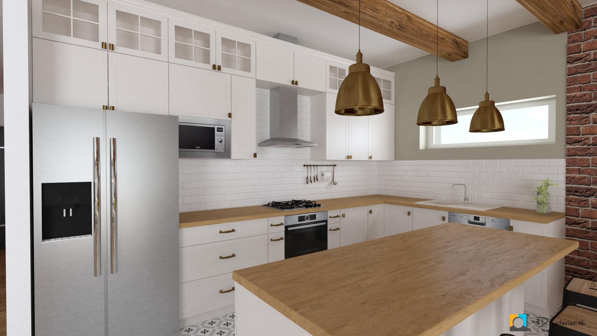 biela kuchynská linka s drevenou pracovnou doskou, barové sedenie, závesné svetlá nad pult