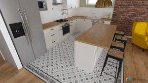 barový pult medzi obývyčkou a kuchyňou, dlažba los kachlos 20x20