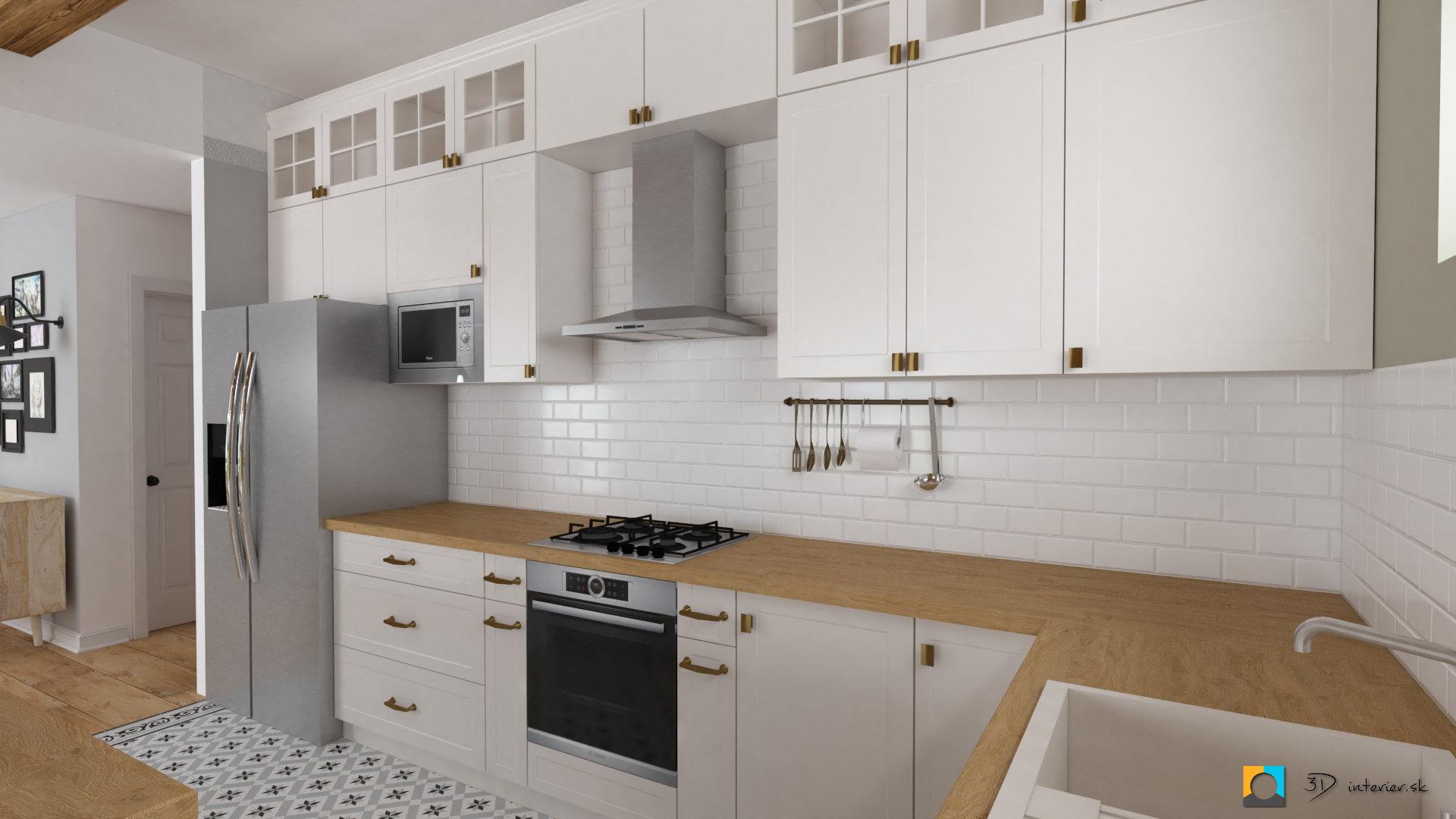 biela kuchyňa, biele tehličky ako zástena, drevená pracovná doska, dlažba v kuchyni 20x20