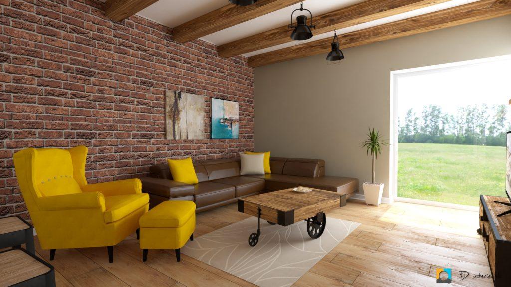 industriálny štýl vizualizácia obývacej izby v bungalove, indutriálna, žlté kreslo ikea, hnedá kožená gaučovka rohová, krémový koberec, tehla na stene