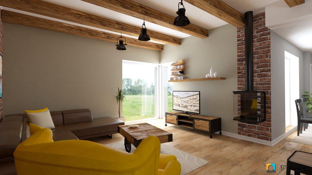 industriálny štýl návrh industrálnej obývačky s drevom, kreslo žlté z ikea, hnedá kožená sedačka