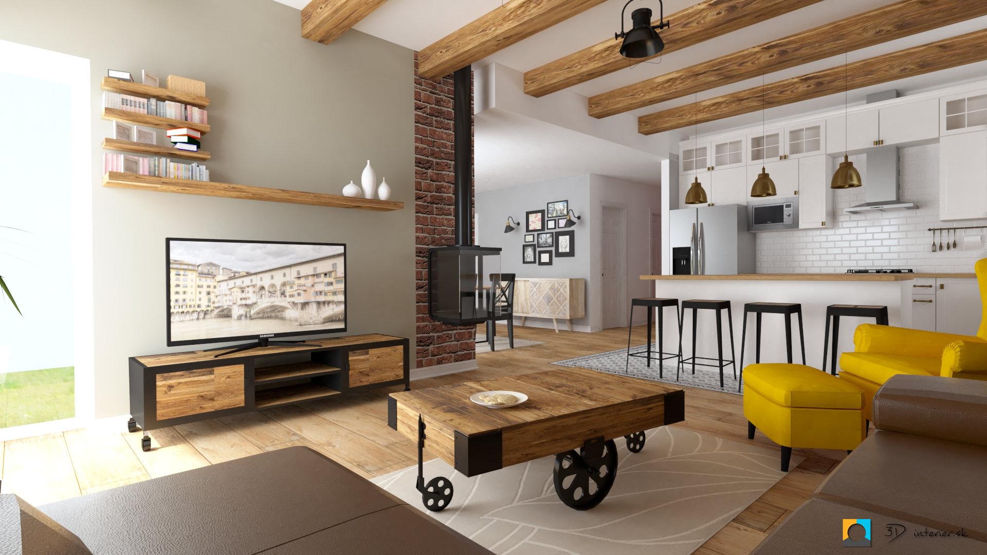 industriálny štýl stolík vozík industriálny drevený v obývačke, závesný krb, obývačka spojená s kuchyňou, barový pult industriálny štýl