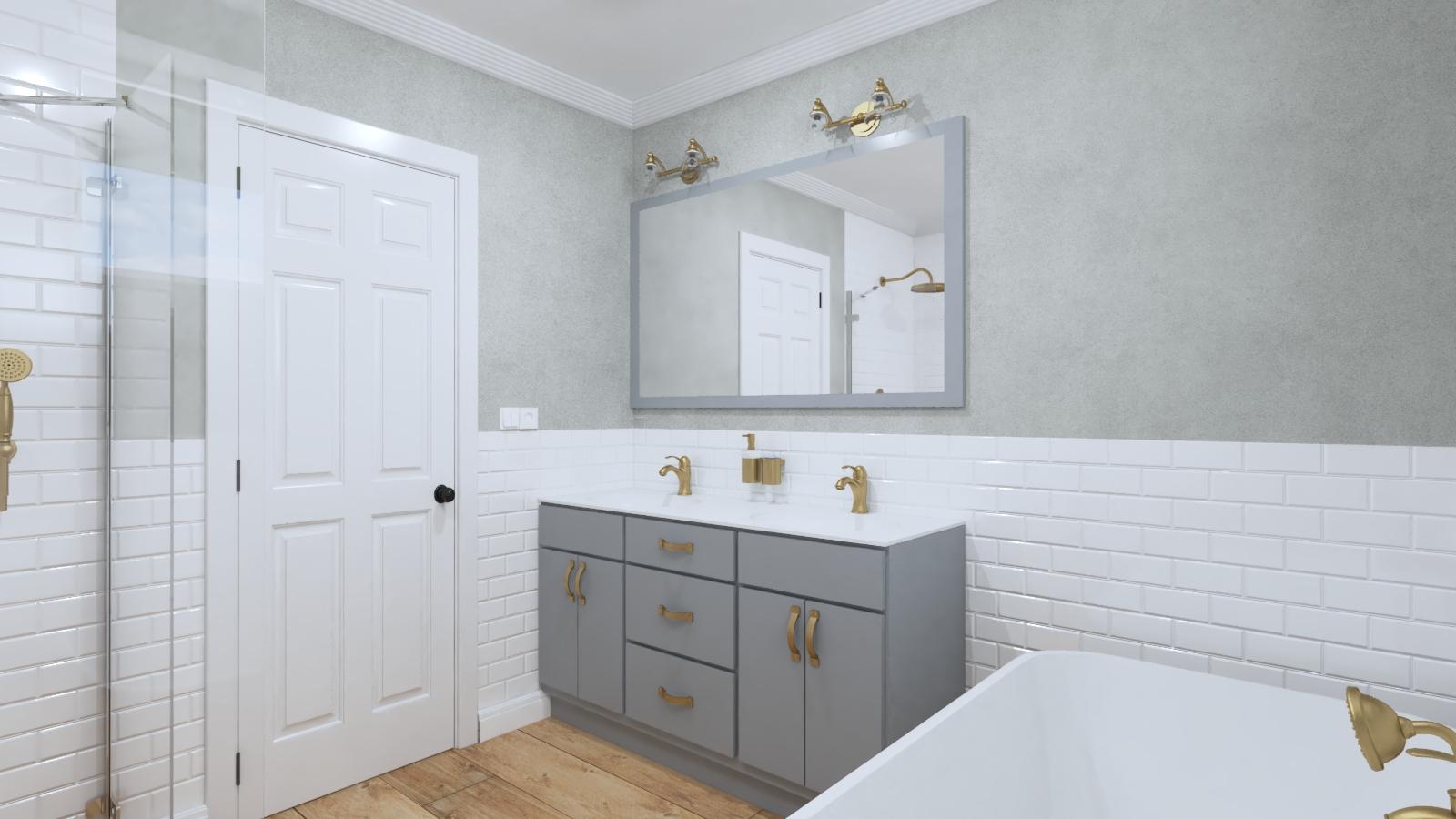 industriálna kúpeľňa so šedou skrinkou s dvojumývadlom, voľne stojaca vaňa, omietka na stene