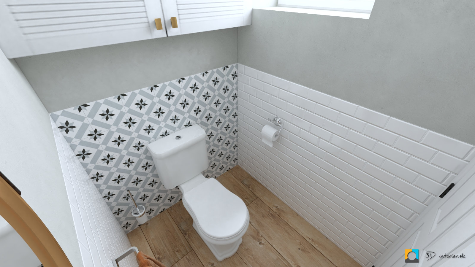 toaleta s bielym obkladom tehličky, dlažba drevo, patchwork na stene industriálny štýl