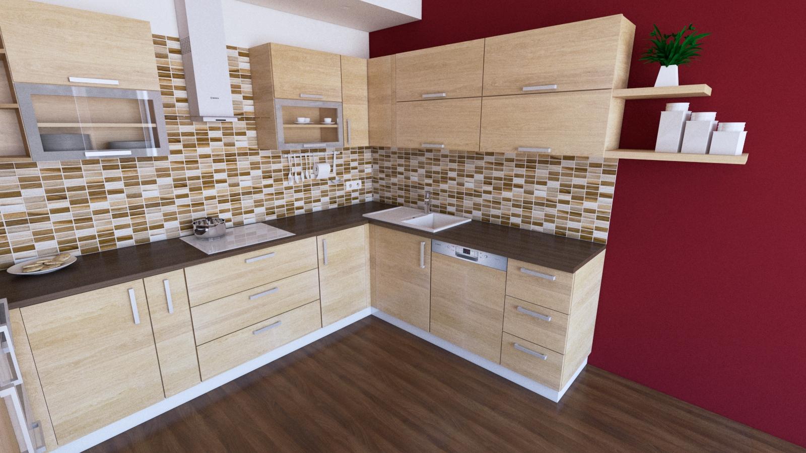 návrh kuchyne, bordová stena, hnedá doska