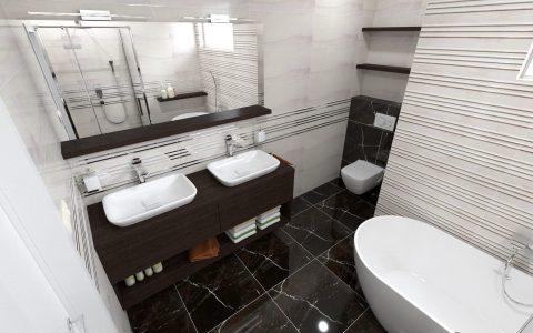 Kúpeľňa s mramorom, dlažba čierny mramor