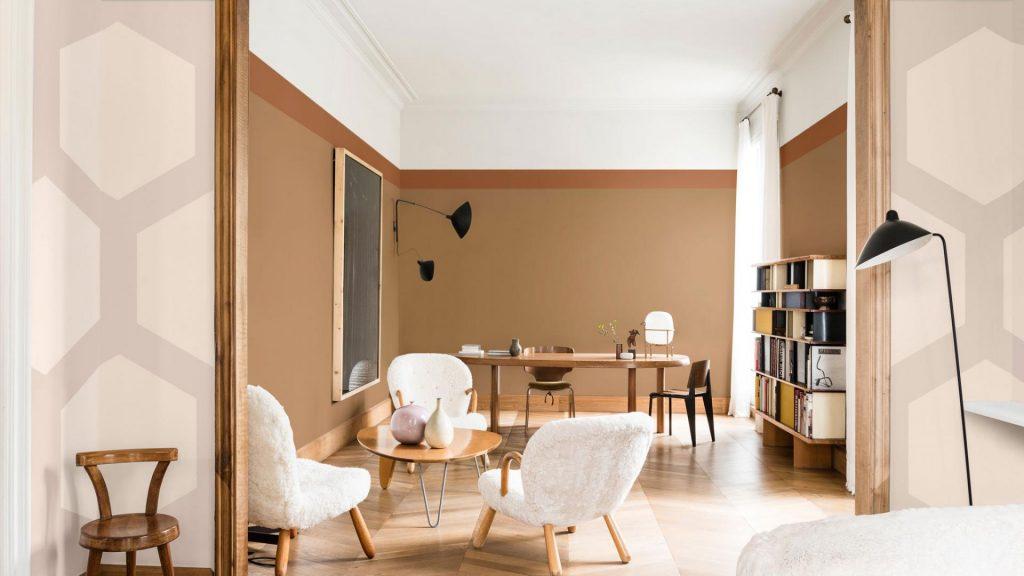 obývačka dulux zemité farby, spriced honey 2019