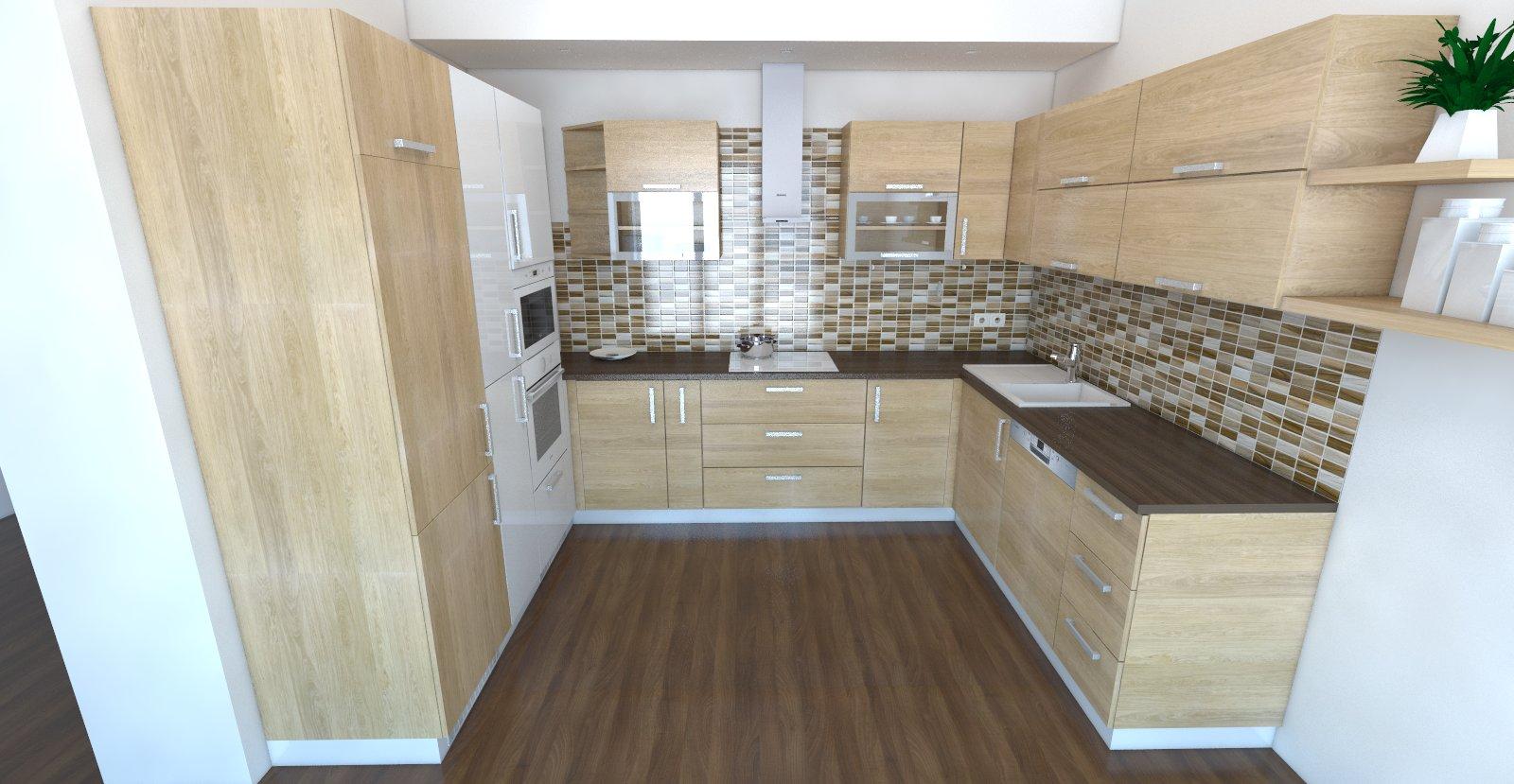 kuchynská linka návrh, u-tvar