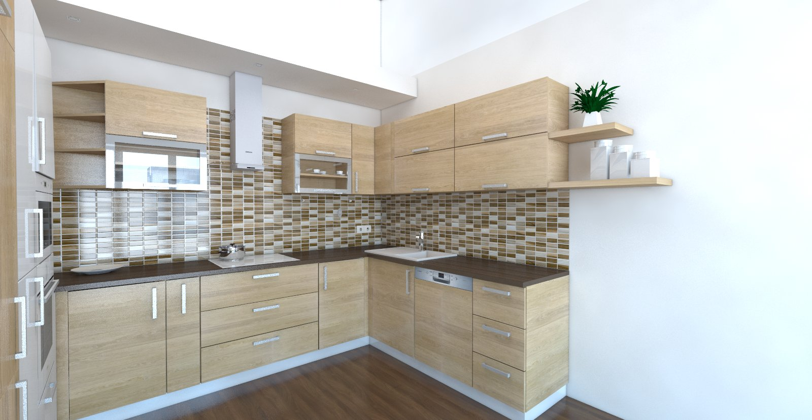 mozaikový obklad za kuchynskou linkou