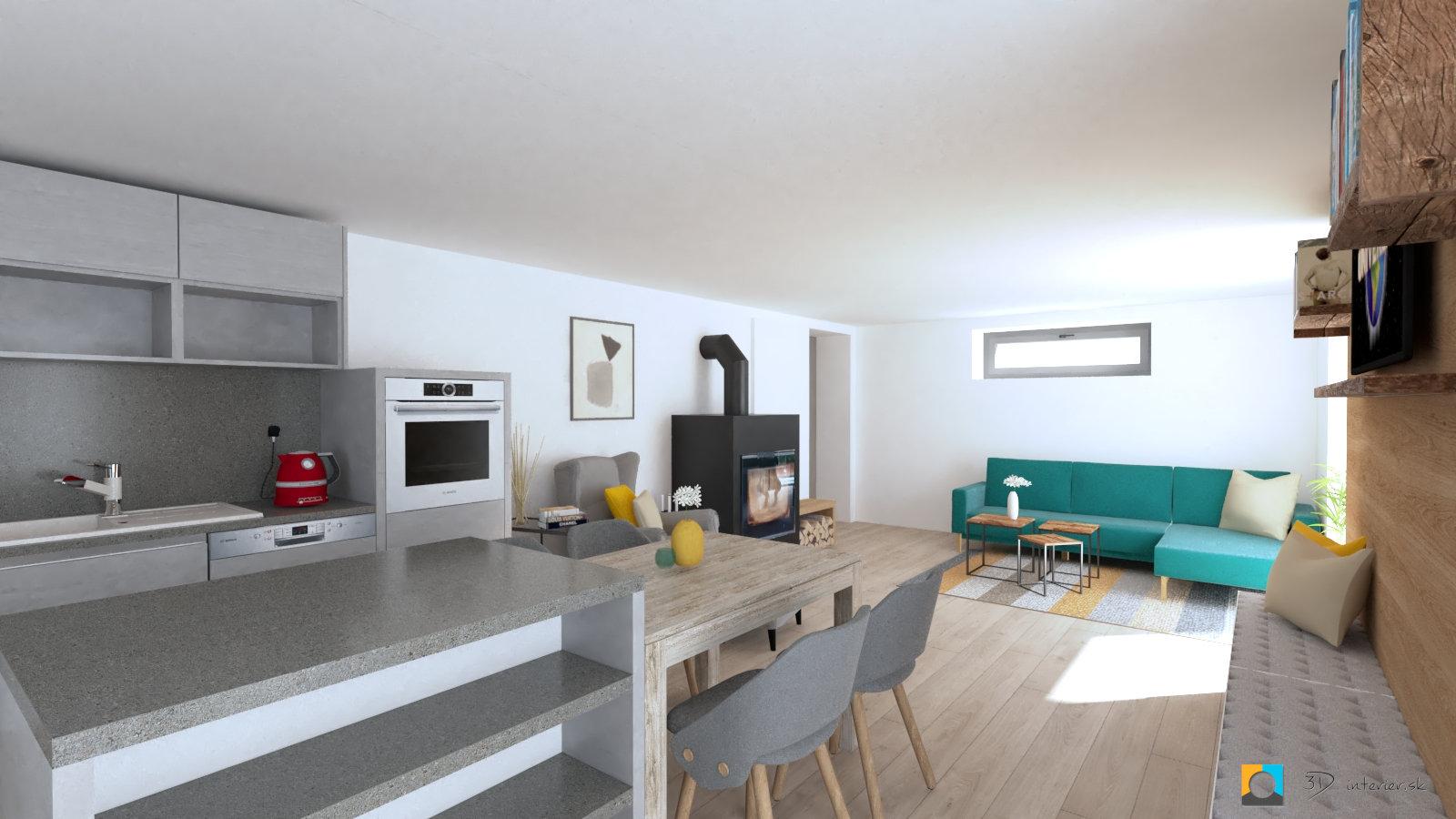 dizajn interéru prešov, tyrkysová sedačka, stoličky do jedálne
