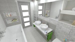 návrh kúpeľne, šedé obklady, biele skrinky