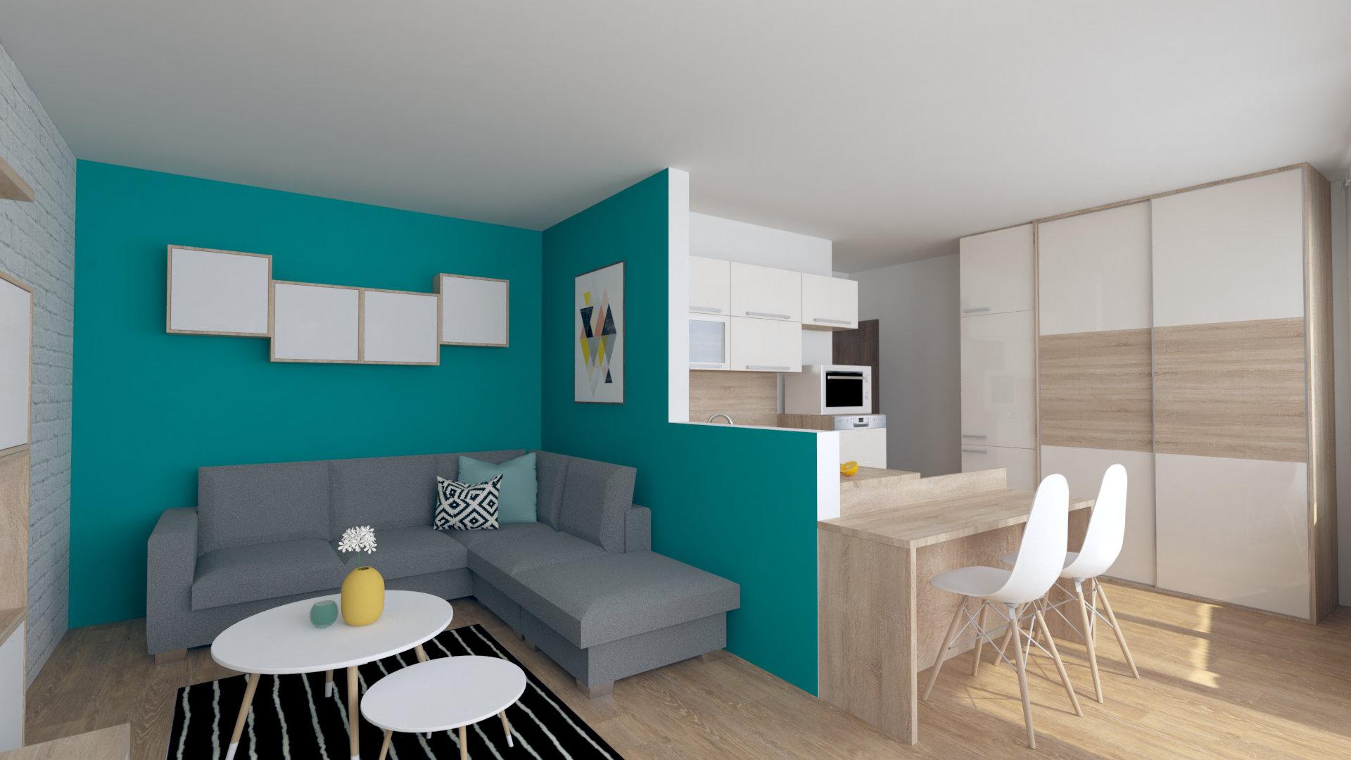 Jednoizbový byt návrh obývacej izby