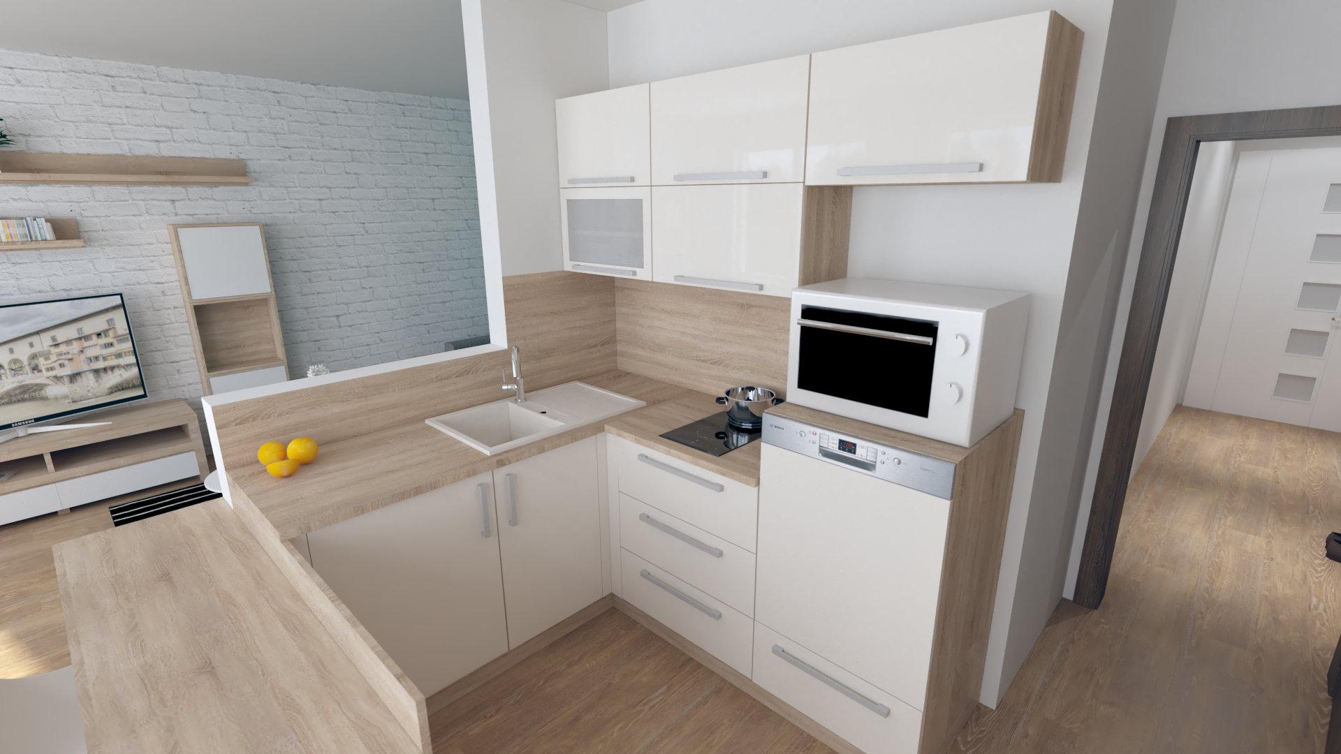 Jednoizbový byt návrh malej kuchyne