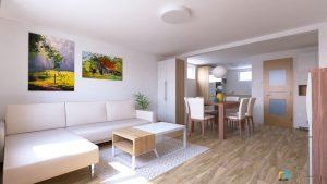 dizajnovy navrh interieru obývačka s kuchyňou