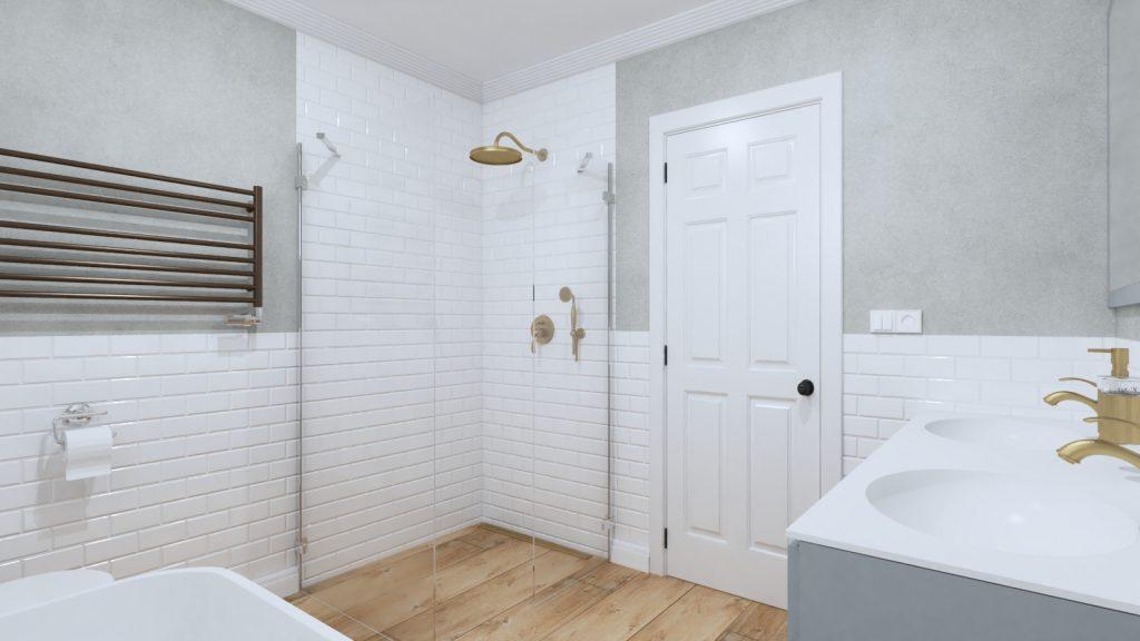 industriálny štýl domu, kúpeľňa návrh a vizualizácia