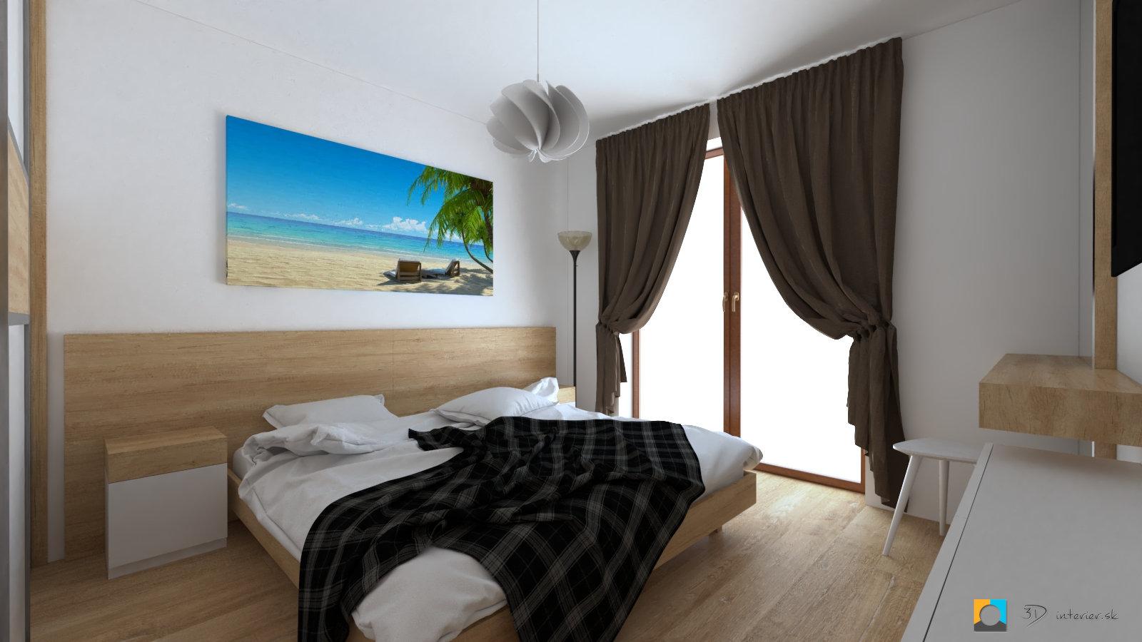 dizajn spalne v dome závesy