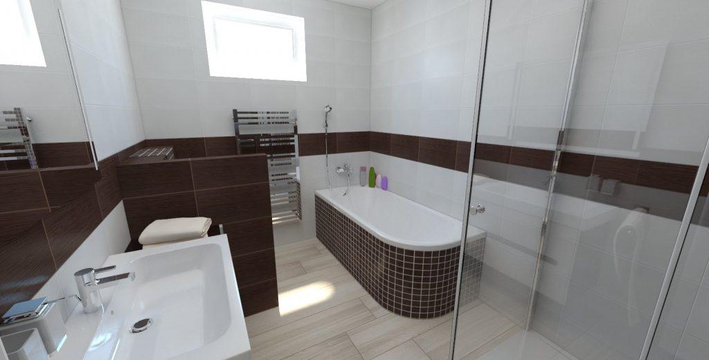 návrh interiéru bungalov kúpeľňa wenge vaňa mozaika