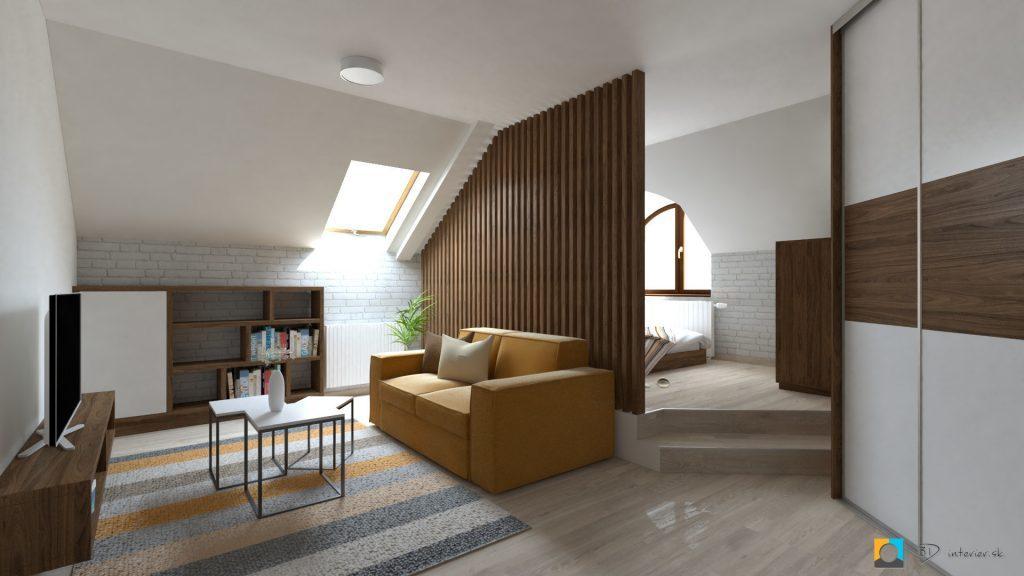 návrh podkrovnej izby deliaca stena z dreva