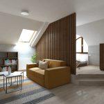 návrh interiéru izba deliaca stena